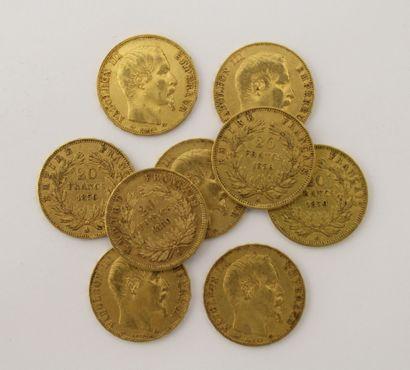 9 pièces de 20 Francs Français or Napoléon...