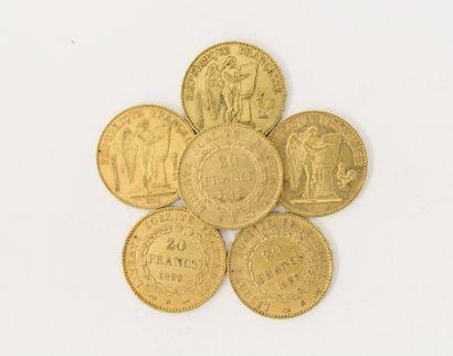 6 pièces de 20 Francs Français or Génie...