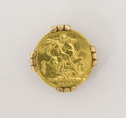 Souverain en or Victoria 1888 avec monture...