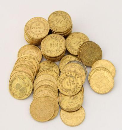 80 PIECES de 20 Francs Français or XIXème...
