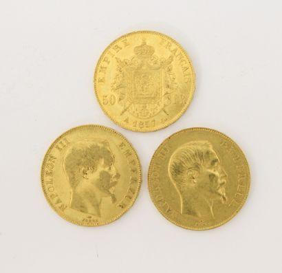 3 pièces de 50 Francs Français or Napoléon...