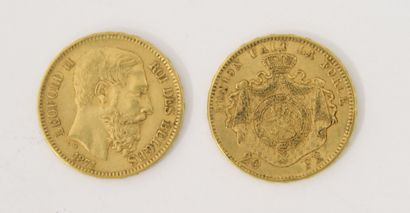 2 pièces de 20 Francs Belges or Léopold...