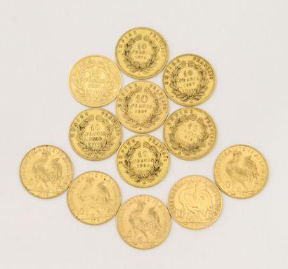 12 PIECES DE 10 Francs Français or  - 5...