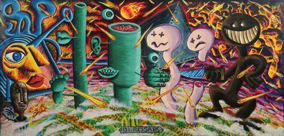 Hervé DI ROSA (Né en 1959)  Figures, 1985  Huile sur toile  Signée au centre dans...