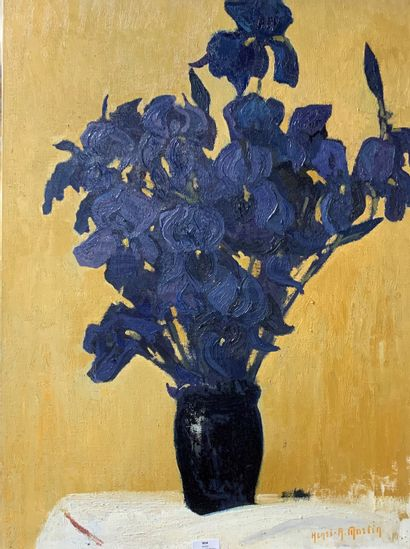 Henri-André MARTIN (1918-2004)  Vase d'iris...