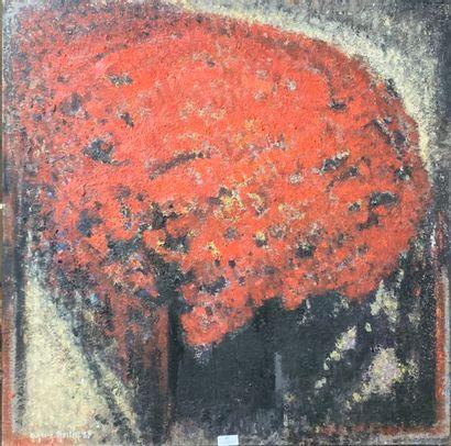 Henri-André MARTIN (1918-2004)  Fleurs rouges...