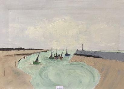 Henri-André MARTIN (1918-2004)  Bateaux au...