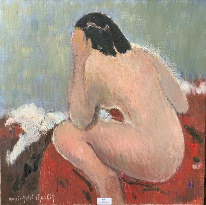 Henri-André MARTIN (1918-2004)  Nu brun assis,...