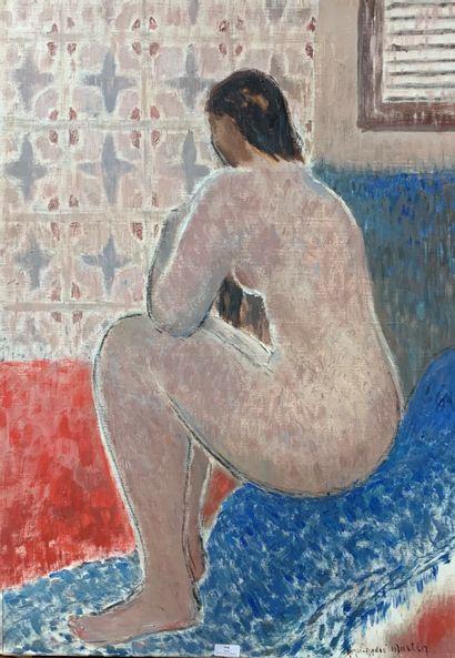 Henri-André MARTIN (1918-2004)  Nu brun assis...