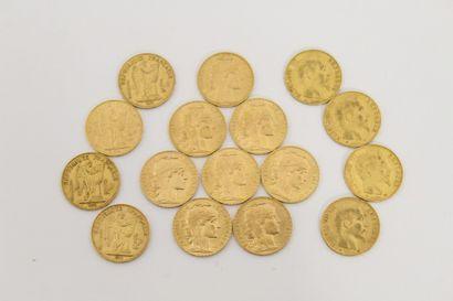 16 Pièces de 20 Francs Français or Napoléon...
