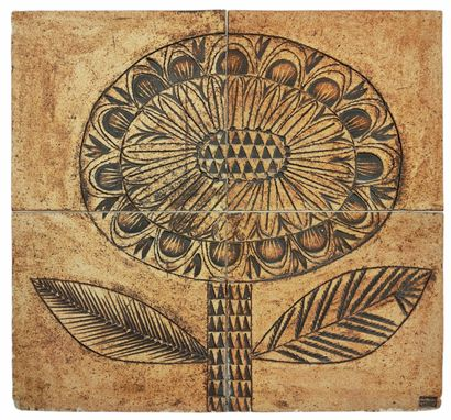 Roger CAPRON (1922-2006)  Plaque fleurs circa...
