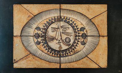 Roger CAPRON (1922-2006)  Plaque visage soleil...