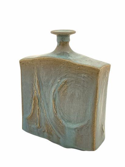 Roger COLLET (1933-2008)  Vase méplat  Grés...