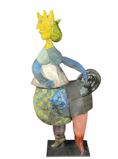 Roger CAPRON (1922-2006)  Sculpture coq à...