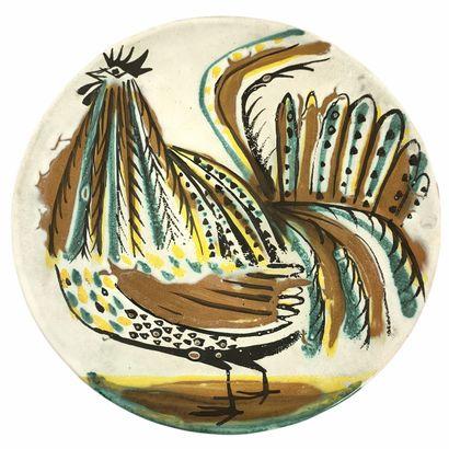 Roger CAPRON (1922-2006)  Grand plat coq...
