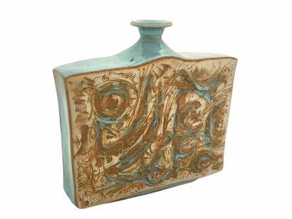 Roger COLLET (1933-2008)  Grand vase méplat...