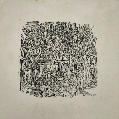 André COTTAVOZ (1922-2012)  Plaque scène...