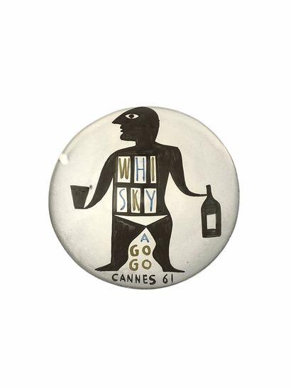 Roger CAPRON (1922-2006)  Coupelle Whisky à go go Cannes 1961  Céramique émaillée...