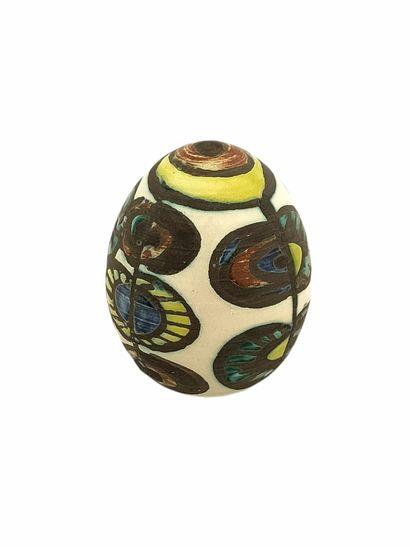 Atelier MADOURA  Oeuf fleurs  Céramique émaillée...