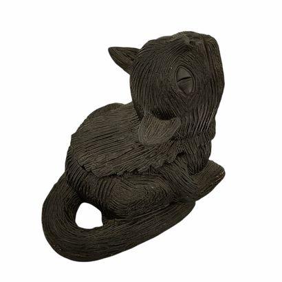 Jean MARAIS (1913-1998)  Boîte chat  Céramique...