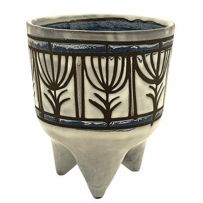Roger CAPRON (1922-2006)  Cache-pot molaire 1953-1965  Céramique émaillée à décors...