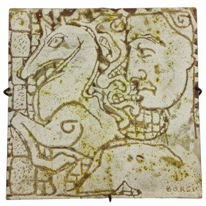 Manfredo BORSI (1900-1967)  Plaque visage...