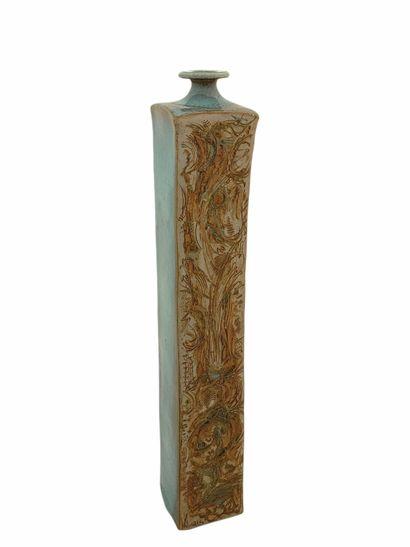 Roger COLLET (1933-2008)  Vase carré  Grés...