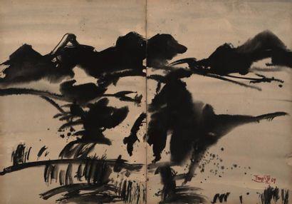 T'ANG Haywen (1927-1991) - Paysage en diptyque...