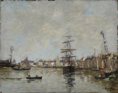 Eugène BOUDIN (1824-1898)  Le Port de Trouville...