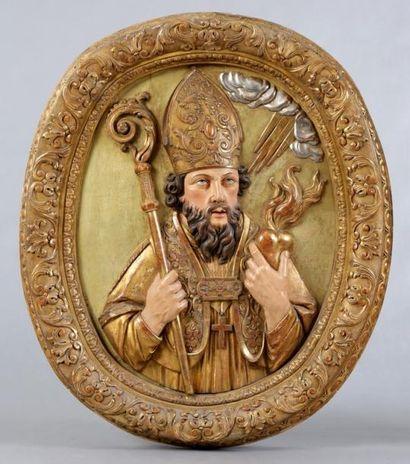 SAINT AUGUSTIN sculpté en fort relief, polychromé,...