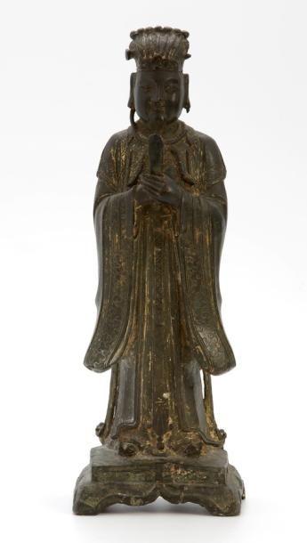 CHINE XVIIème Siècle  SUJET en bronze avec...