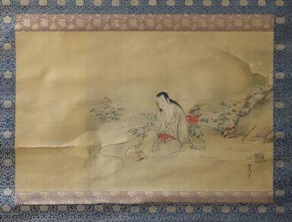 JAPON Période Edo (1603-1868), Fin XVIIIème-XIXème Siècle  Kakemono en couleurs...