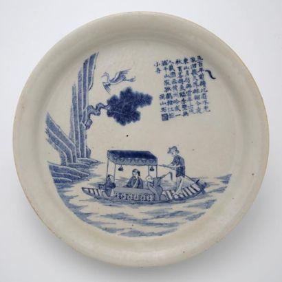 CHINE DU SUD XIXème Siècle  PLAT en porcelaine...
