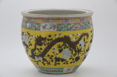 CHINE Vers 1900  BASSIN À POISSONS en porcelaine...