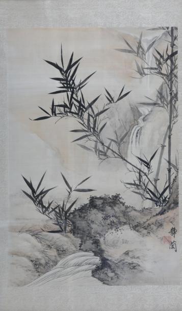 JI Jin Lan (XXème Siècle)  Bambous dans un...