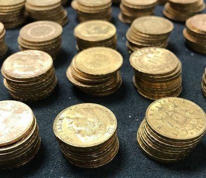 LOT DE 100 pièces en or 20 Francs  comprenant...