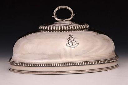 CLOCHE ovale en métal argenté de la Fin du...