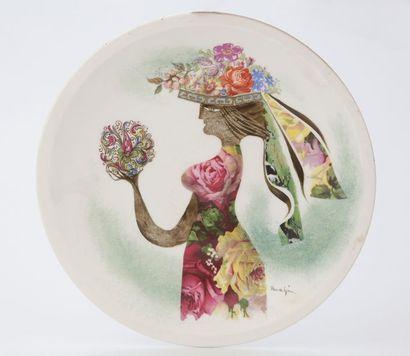Jules PERAHIM (1914-2008)  Femme aux fleurs...