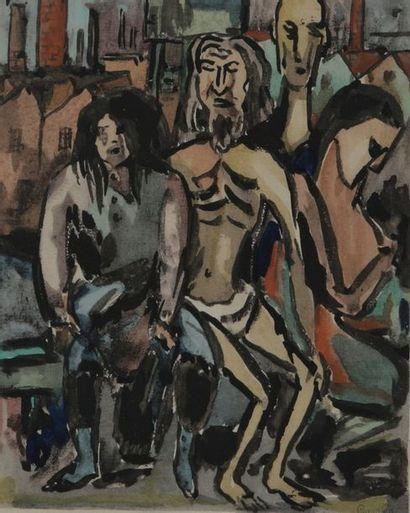 Georges GAUDION (1885-1942)  Quatre personnages...
