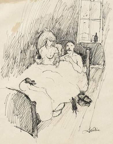 Alfred KUBIN (1877-1959) Scène de chambre....