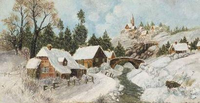 Georges LAPCHINE (1885-1951) Village sous...