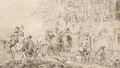 Philips WOUVERMAN (1619-1668) Scéne de village....