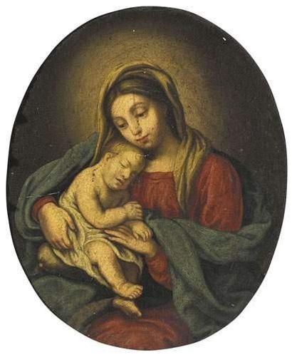 Ecole du XVIIème siècle Vierge à l'enfant....
