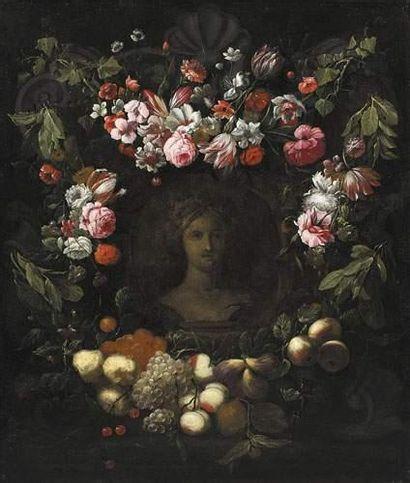 Frans YKENS (1601-1693) Couronne de fleurs...