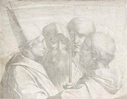 Ecole FRANCAISE vers 1810 Un évêque et trois...