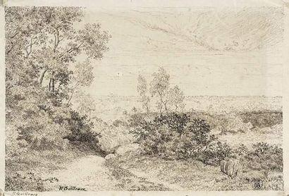Ernest GUILLEMER (né en 1839) Paysage à Barbizon....