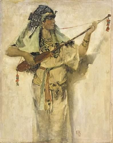 Georges ROCHEGROSSE (1859-1938) Musicienne...