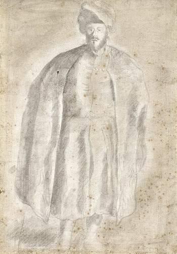 Ecole FRANCAISE du XVIIIème siècle Portrait en pied d'un Turc portant un cafetan....
