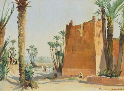 M. DUFAUX (1852-1943) Remparts à Marrakech. Huile sur toile. Signée en bas à droite...