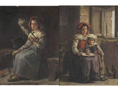 Charles Baptiste SCHREIBER (1845-1903) La fileuse et la lecture. Paire d'huiles...